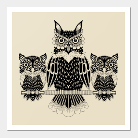 Mother Owl With Little Ones Wall Art