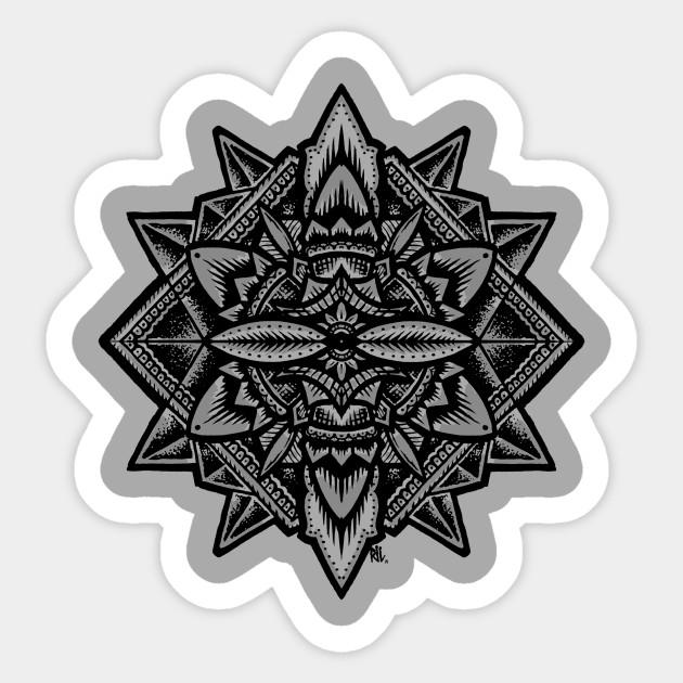 Sacred Geometry Flower Of Life Mandala Merkaba Sticker Teepublic
