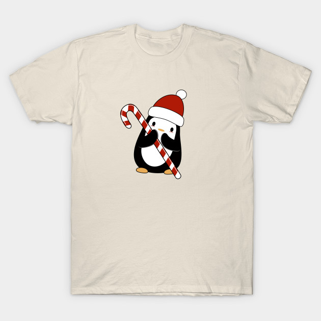 bc5c2c5f Kawaii penguin with her candy cane - Penguin - T-Shirt | TeePublic