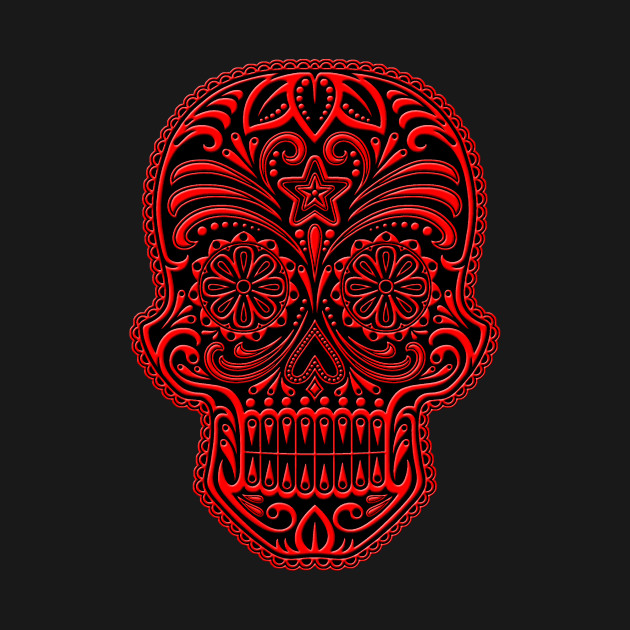 Intricate Red and Black Sugar Skull