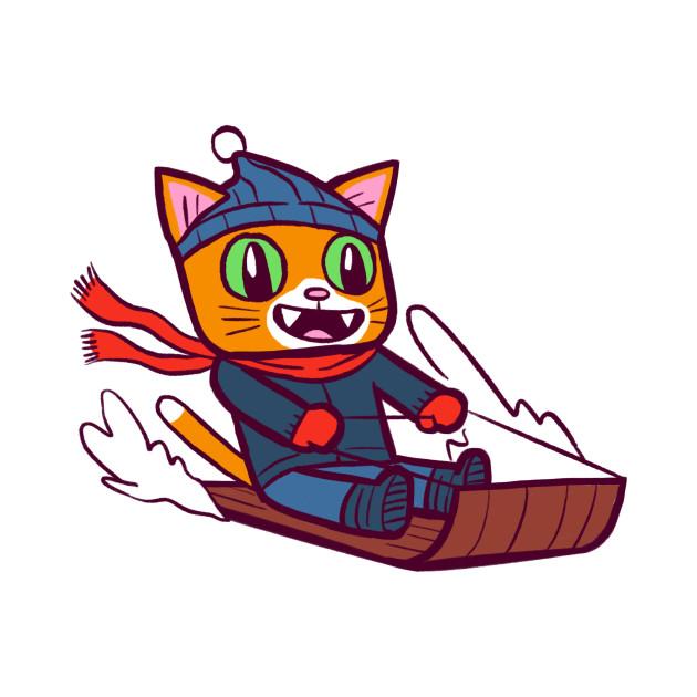 Winter Gato Sledding