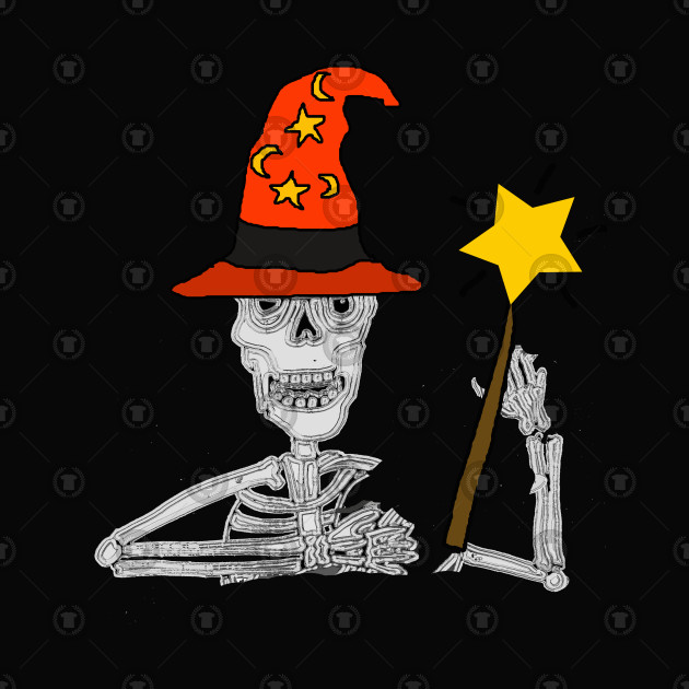 Funny Skeleton Wizard Cartoon Art