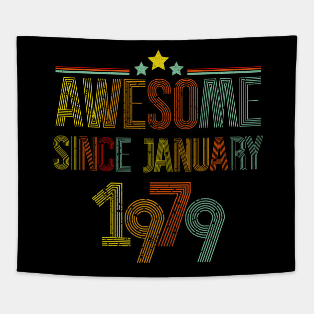 January 1979 T Shirt 40 Years Old 40th Birthday Decorations Tapestry