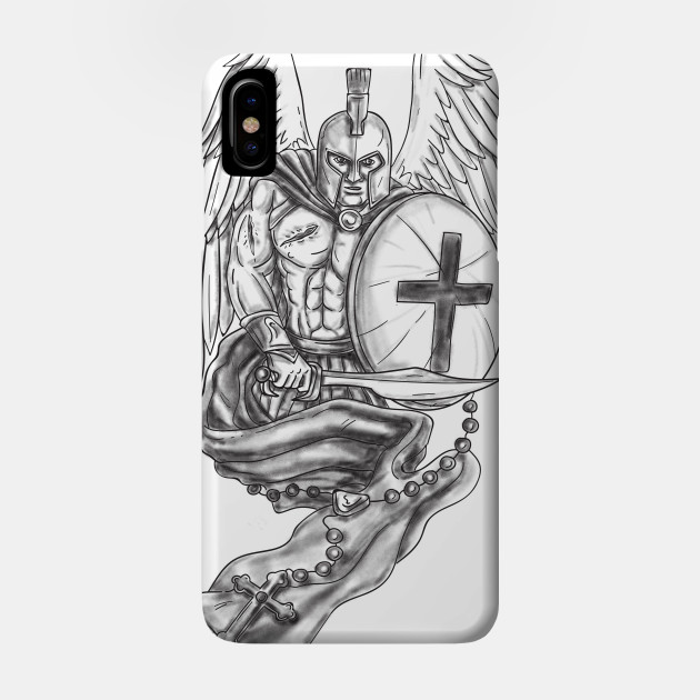 1165258a37742 Spartan Warrior Angel Shield Rosary Tattoo - Spartan Warrior Angel Shield  Rosary Tattoo - Phone Case | TeePublic