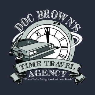 Doc Brown's Time Travel Agency t-shirts