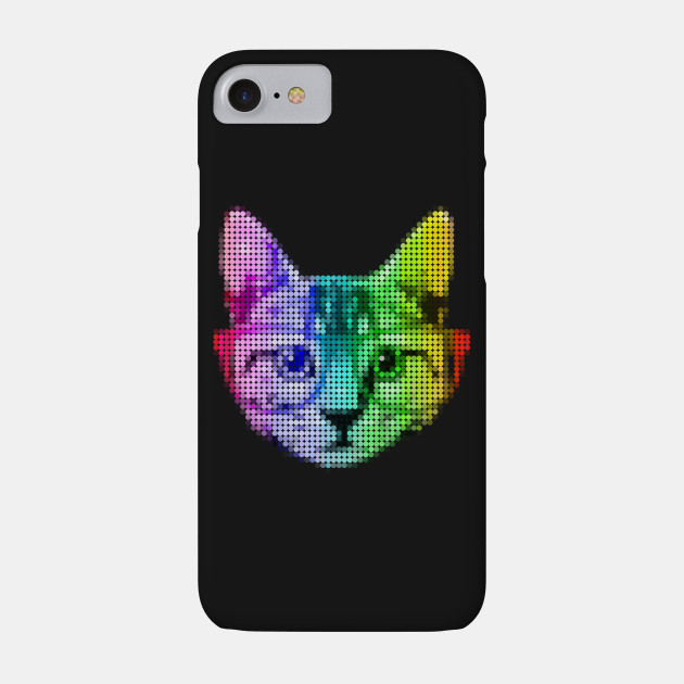 Rainbow Pop Art Cat with Glasses