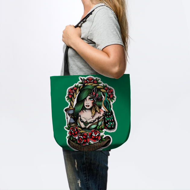 Rydia from Final Fantasy 4 (FFIV) in American Traditional Tattoo Portrait Style T-Shirt