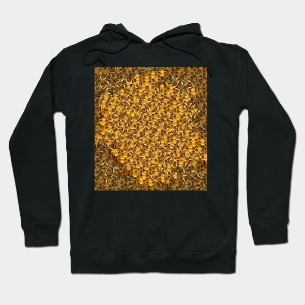 Busy Honeybees in Beehive with Honeycomb Hoodie