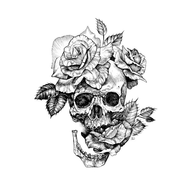 Black and White ink drawing Skull With Roses - Black And ...