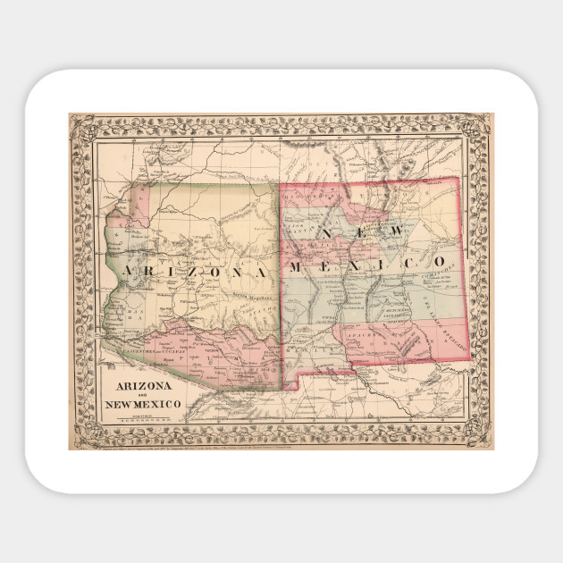 Vintage New Mexico and Arizona Map (1868)