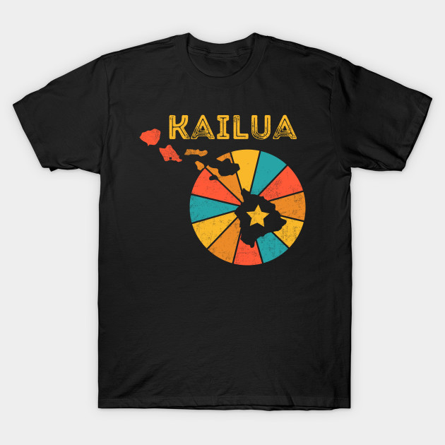 Kailua Hawaii T-Shirt Vintage City Retro Souvenir US State Silhouette Lover Gift With Star