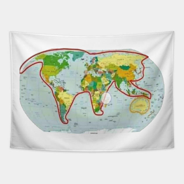 Cat plays with Australia world planet map mainland continent