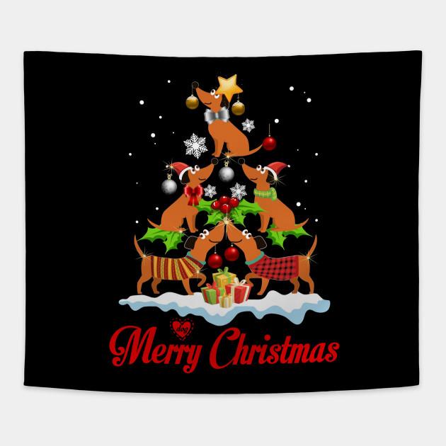 Dachshund Dogs Merry Christmas Tree Funny Ornaments Shirt