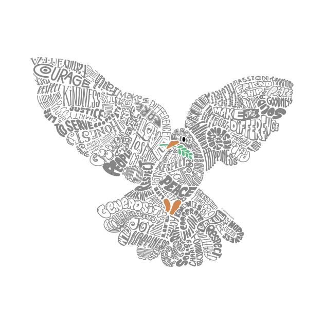 Typographic Peace Dove (white)