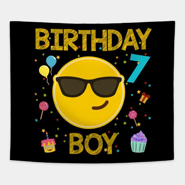Kids Emoji 7th Birthday Boy T Shirt Fun 7 Years Old Gift Tapestry
