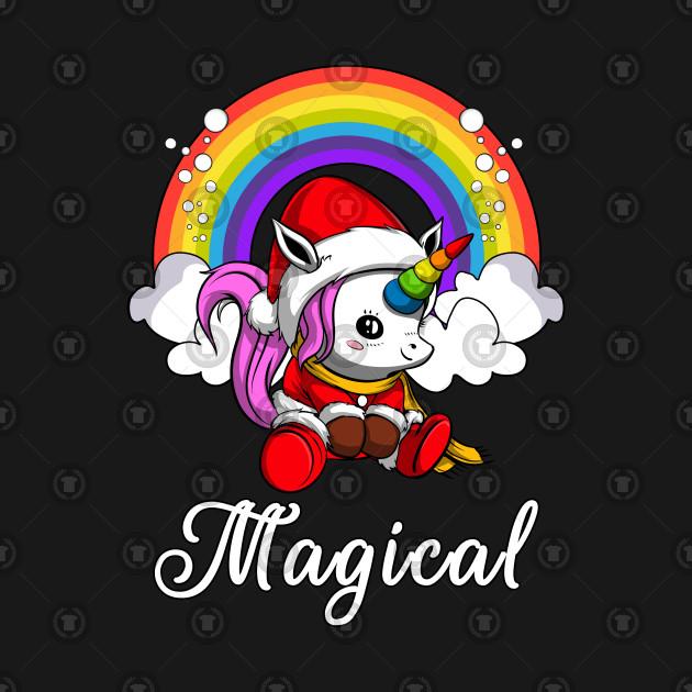 Christmas Unicorn.Santa Unicorn Christmas Rainbow Party Funny Kawaii
