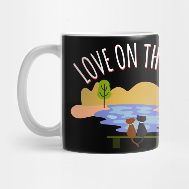 Love on the Lake - Girl friend - Boy friend - Couple cats Valentine's Day Mug