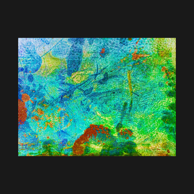 Abstract textured turquoise, orange, blue and green color contrast photographic metallic background.