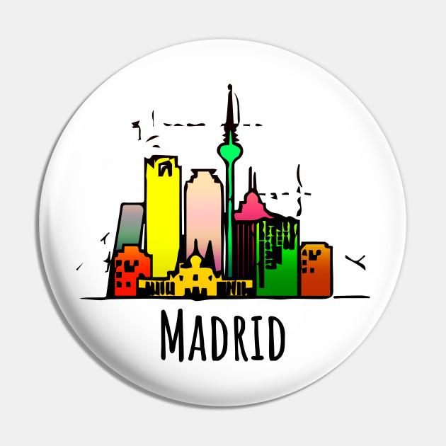 Colorful Madrid Tourist Cartoon Spain Souvenir Madrid Spain Souvenir Pin Teepublic