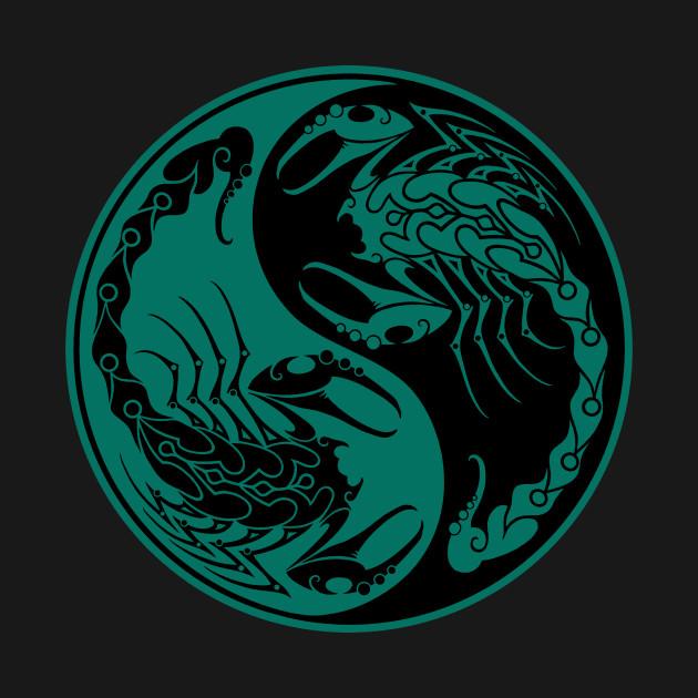 Teal Blue and Black Scorpions Yin Yang