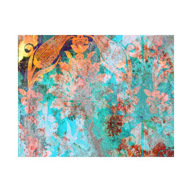 Blue Textured Floral Pattern