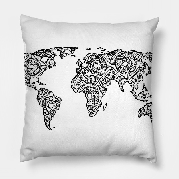 Mandala World Map World Map Pillow TeePublic - Mandala map of the world