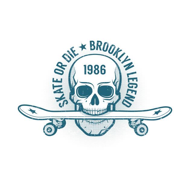 2b82d6e51686 Skater monochrome emblem with skull Skater monochrome emblem with skull
