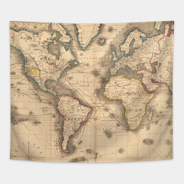 Vintage Map Of The World 1850 World Map Tapestry Teepublic