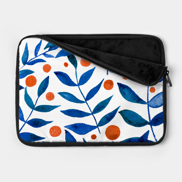Watercolor branches and berries - blue and orange