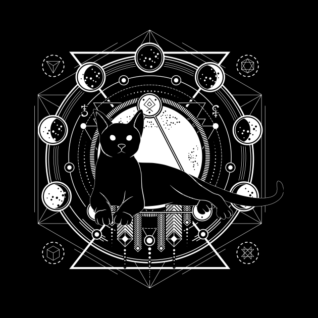Mandala of the familiar, cat with moon phases