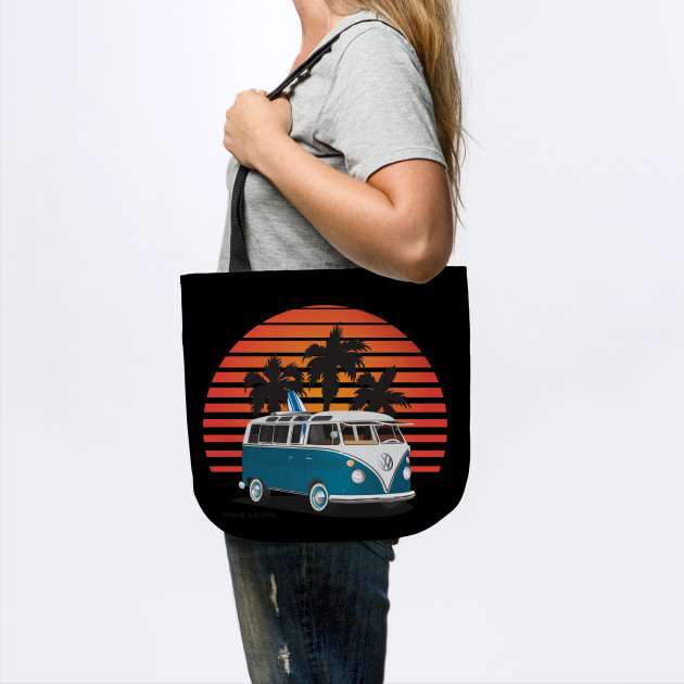 6841d9365aa450 Aquamarine 21 Window Surfer Van with Sunset - Surf Van - Tote ...