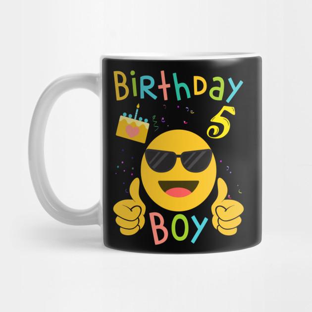 Kids Emoji 5th Birthday Boy T Shirt Fun 5 Years Old Gift By Biray