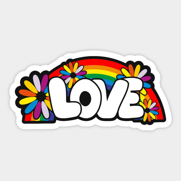 graffiti art style love word with flowers and rainbow