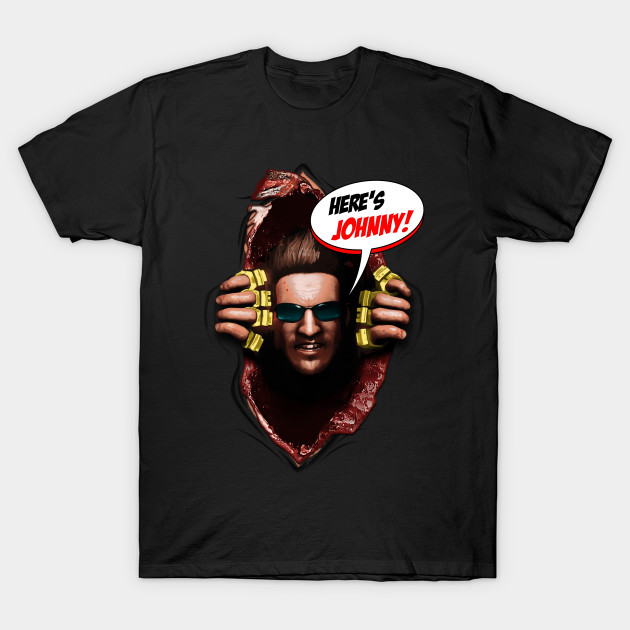 here s johnny from mortal kombat x opened t shirt teepublic