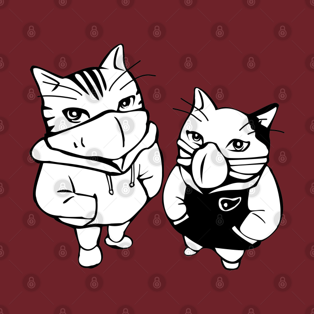 Cool Cats Line Drawing Wearing Face Masks, TPSSG