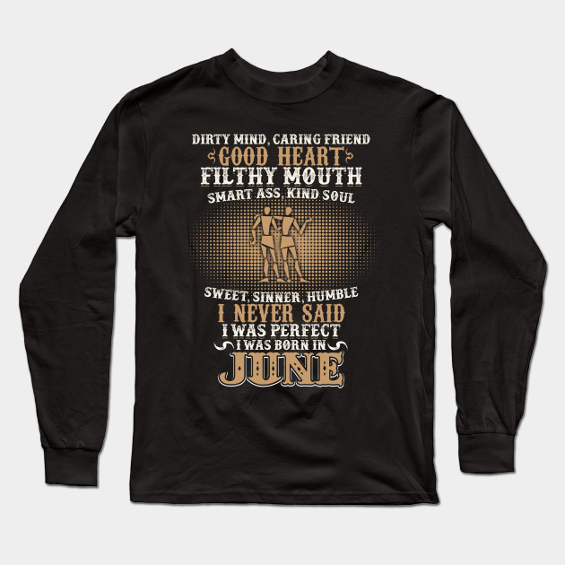 Funny June Shirts For Men Gemini Birthday Best Gift Long Sleeve T Shirt