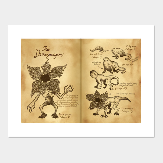 Demogorgons Journal Pages - Demogorgon - Wall Art | TeePublic