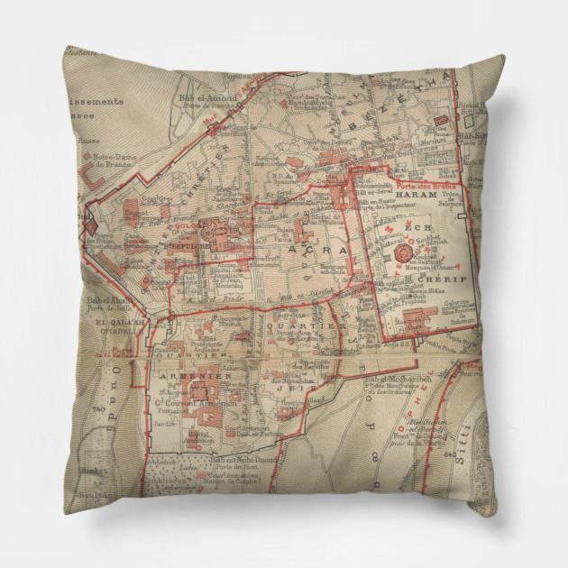 Vintage Map of Jerusalem Israel (1896) - Jerusalem Map - Pillow ...