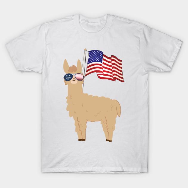 535c040f 4th Of July Llama American Flag Sunglasses Funny Patriotic Gift Shirt T- Shirt