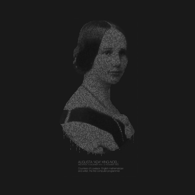 ADA LOVELACE binary on black