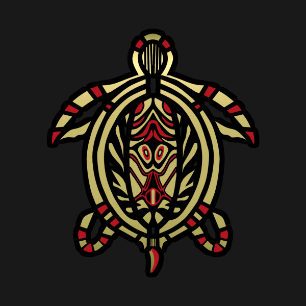 Turtle Totem Design In Gold And Black Turtle Reptile Shell