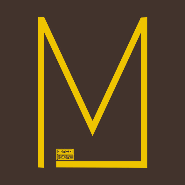 Letter M Simple Thin Clean Minimalist Line Initial