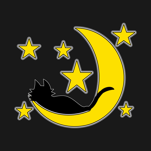 Black Cat  and Moon (A Leesha-Mae Design)