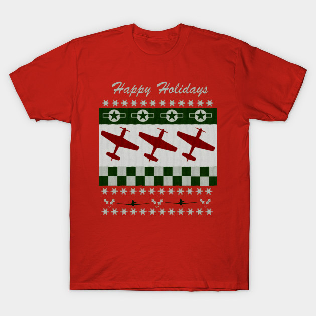 P 51 Mustang Ugly Christmas Sweater Style Design P 51 Mustang