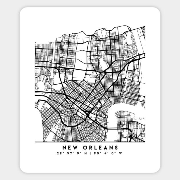 NEW ORLEANS LOUISIANA BLACK CITY STREET MAP ART