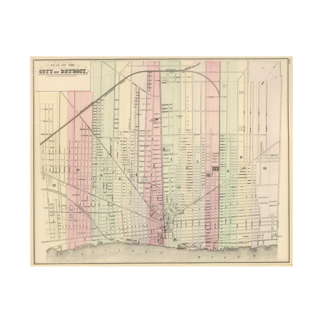 Vintage Map of Detroit Michigan (1886) - Detroit Map - T-Shirt ...