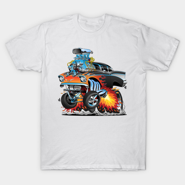 Hot Rod T Shirts >> Classic Hot Rod Fifties Style Gasser Drag Racing Muscle Car Red Hot Flames Big Engine Lots Of Chrome Cartoon Illustration