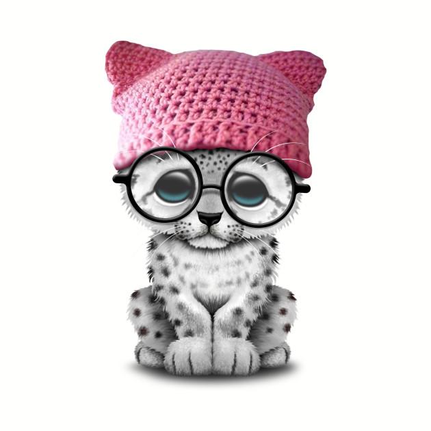 Cute Snow Leopard Cub Wearing Pussy Hat