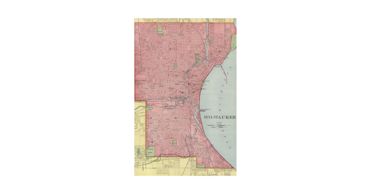 Vintage Map Of Milwaukee Wisconsin 1903 Milwaukee Map T Shirt