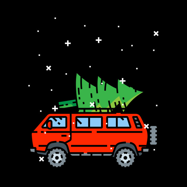 Car Christmas.Vintage Red Vehicle With Merry Christmas Tree Snow Tshirt